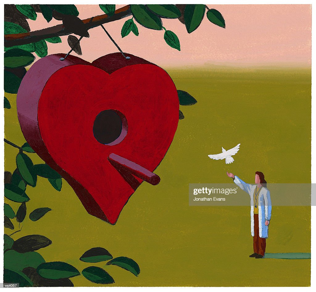 Physician Releasing Dove : Stock Illustration
