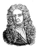 engraving physicist isaac newtonoriginal edition from