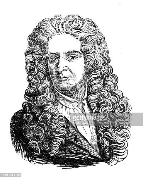physicist isaac newton portrait illustration - physicist stock illustrations, clip art, cartoons, & icons