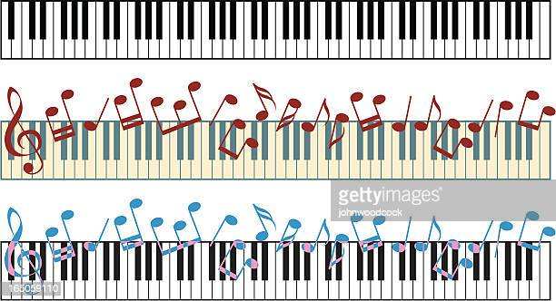 piano keyboard - treble clef stock illustrations, clip art, cartoons, & icons