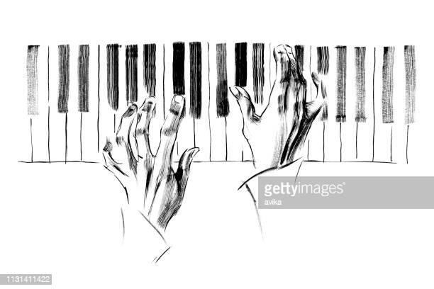 ピアノ音楽 - ピアノの鍵盤点のイラスト素材/クリップアート素材/マンガ素材/アイコン素材
