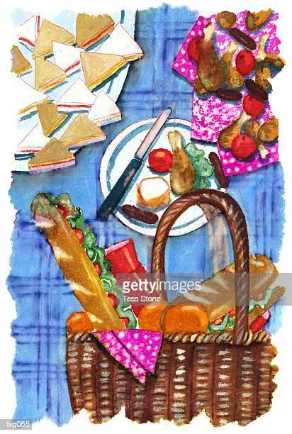 picnic fare - picnic blanket stock illustrations, clip art, cartoons, & icons