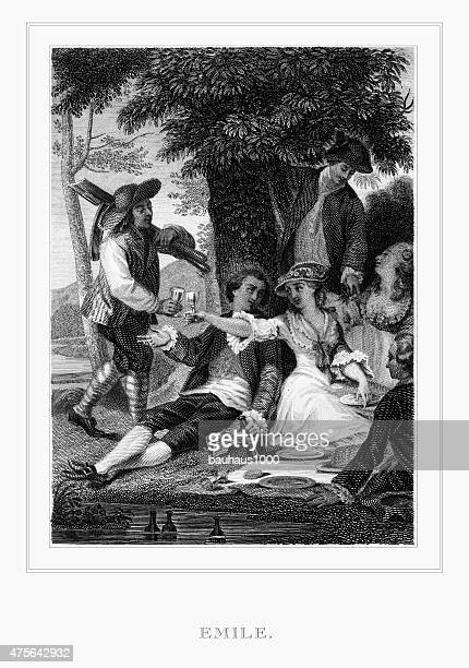 "Picnic from ""Emile"" Engraving"