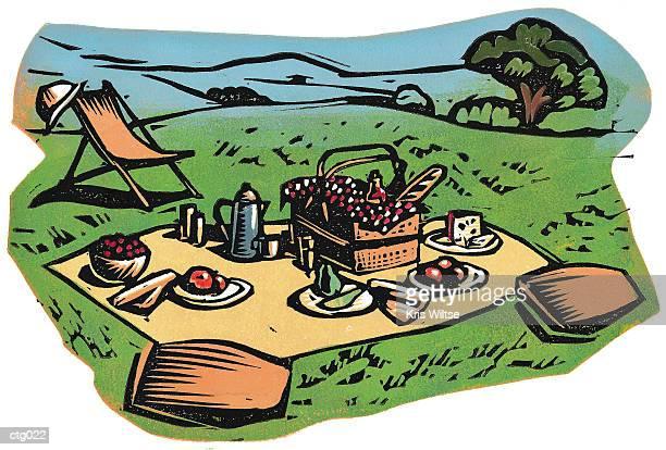 picnic - picnic blanket stock illustrations, clip art, cartoons, & icons