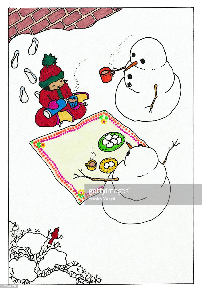 Picnic with Snowmen : Stock Illustration