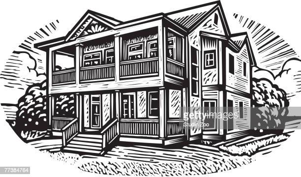 a pictorial representation of a two storey house in black and white - bungalow stock illustrations, clip art, cartoons, & icons