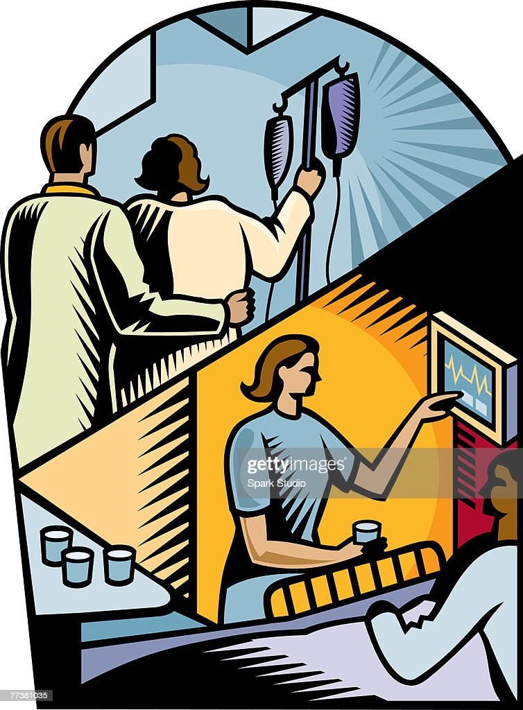 A picture depicting patient care provided by a hospital : Illustration