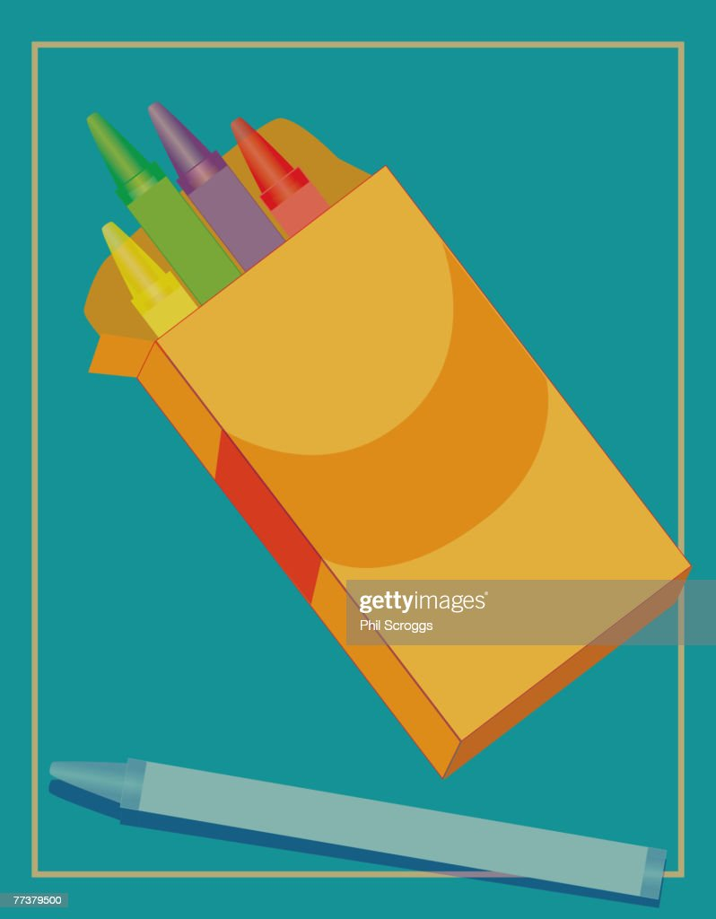 A picture of a box of crayons : Illustration