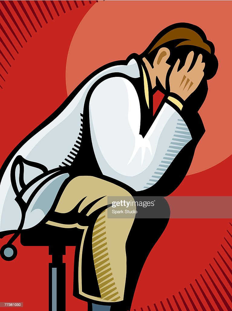 A picture of a distraught doctor : Illustration