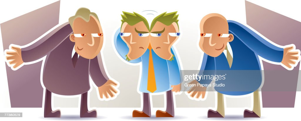A picture of a man who cant decide who to listen to : Stock Illustration