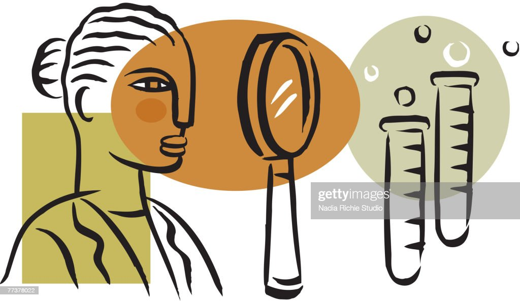 A picture of a woman at a medical research lab : Illustration