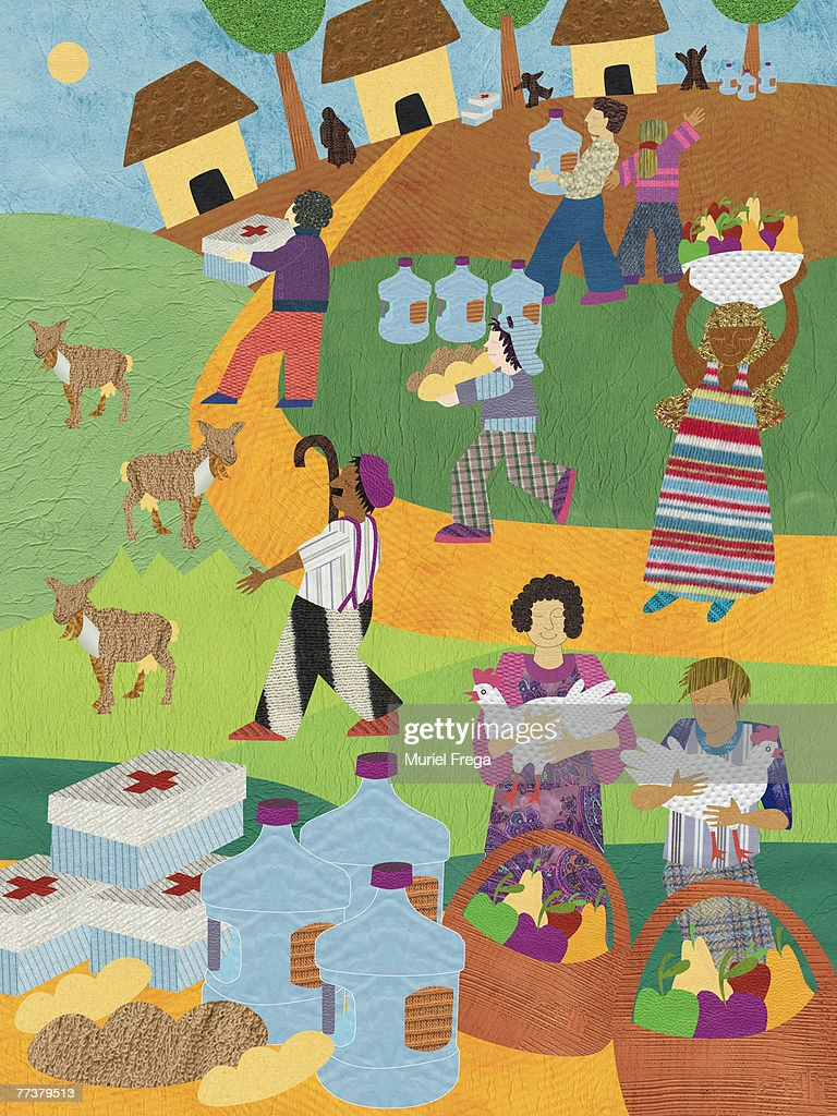 A picture of people donating food and water : Illustration
