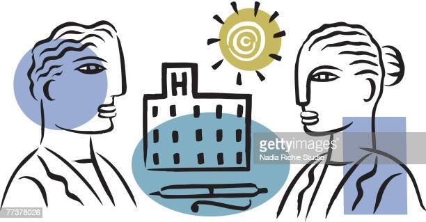 a picture of two hospital staff conversing - updo stock illustrations, clip art, cartoons, & icons