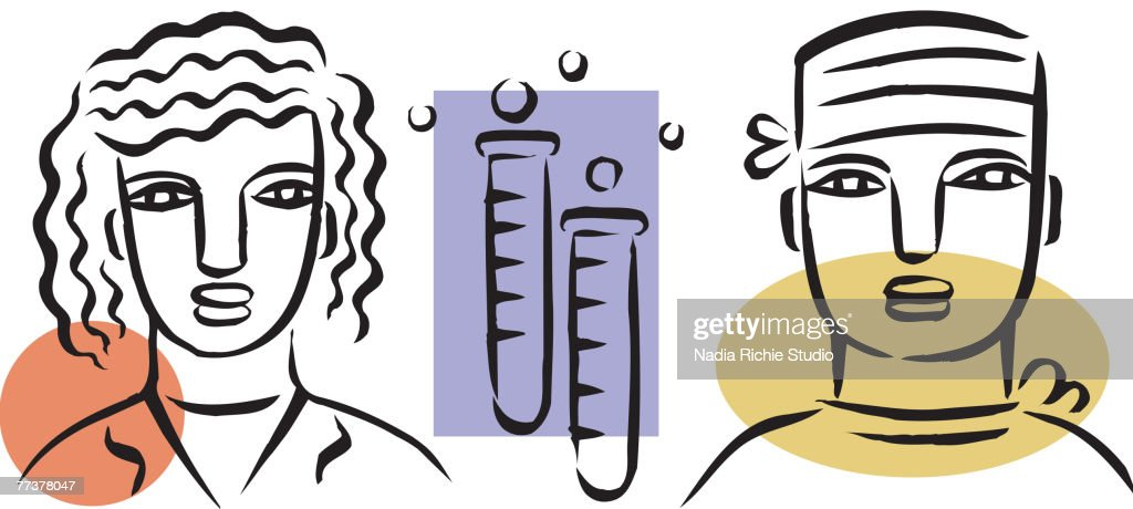 A picture of two medical researchers : Illustration