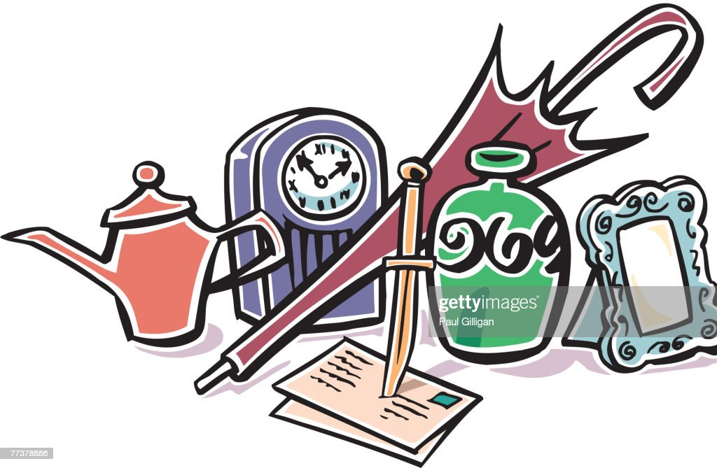 A picture of various bric-a-brac items : Illustration