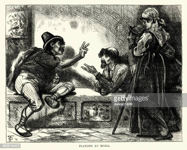pictures from italy, italian men playing a game of morra - 1840 1849 stock illustrations