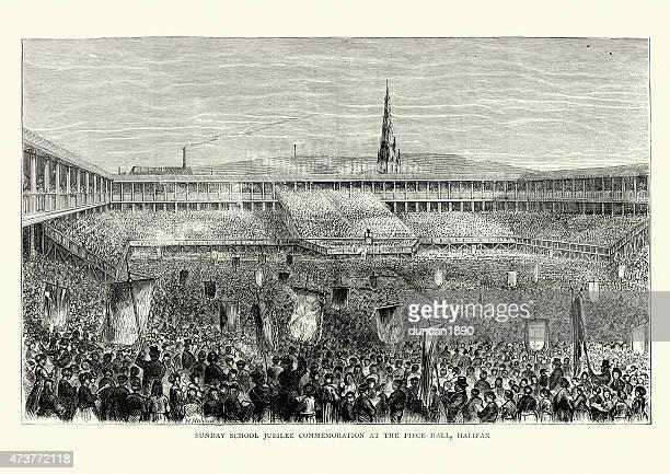 piece hall, halifax - sunday school jubilee commemoration 1871 - political rally stock illustrations, clip art, cartoons, & icons