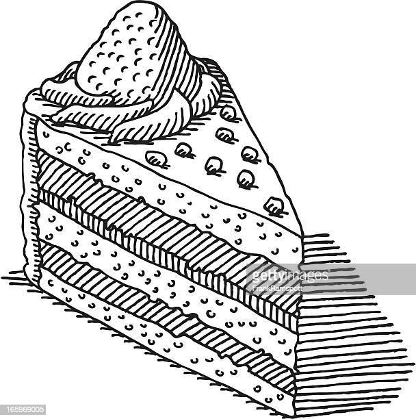 illustrations, cliparts, dessins animés et icônes de morceau de gâteau dessin - couches superposées