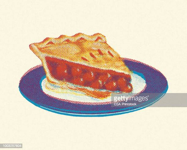 piece of cherry pie - sweet pie stock illustrations