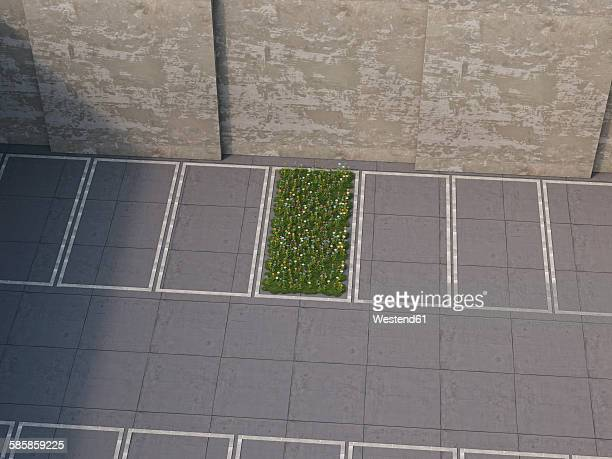 piece of nature between parking lots, 3d rendering - angle stock illustrations