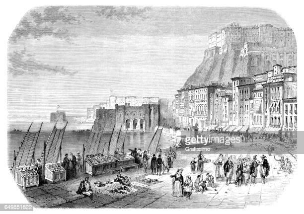 pier santa lucia with promenade in naples italy 1861 - promenade stock illustrations, clip art, cartoons, & icons