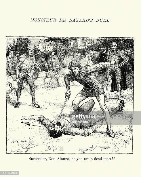 ilustrações de stock, clip art, desenhos animados e ícones de pierre terrail, seigneur de bayard do duelo - luta de espadas