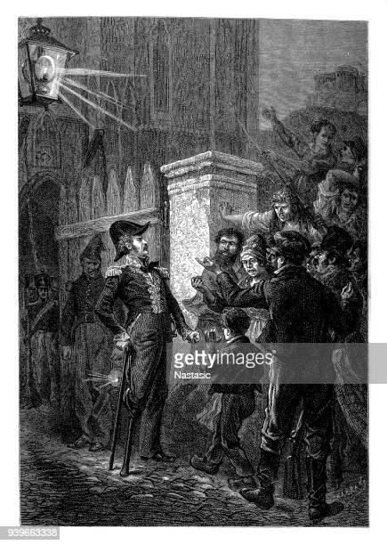 stockillustraties, clipart, cartoons en iconen met pierre yrieix daumesnil, 14.7.1776 - 17.8.1832, frans generaal tijdens de verdediging van vincennes - vincennes