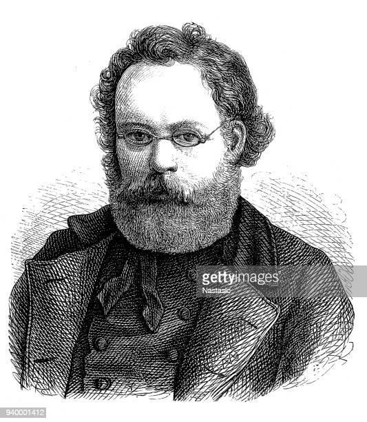 ilustrações, clipart, desenhos animados e ícones de pierre-joseph proudhon (1809-1865), filósofo e político francês, socialista, - filósofo