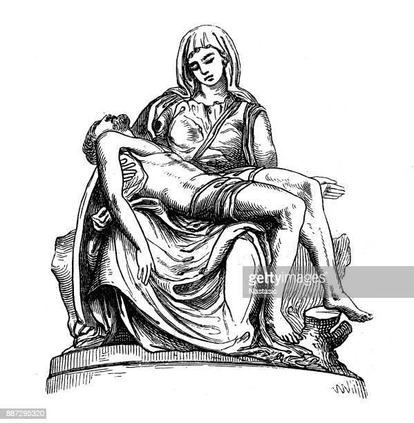 ilustrações de stock, clip art, desenhos animados e ícones de pietà (st. peter's basilica, vatican) by michelangelo - st. peter's basilica the vatican