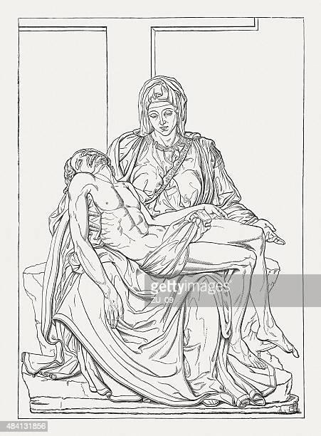 ilustrações de stock, clip art, desenhos animados e ícones de pietà (st basílica de pedro, no vaticano), michelangelo, publicada em 1878 - st. peter's basilica the vatican