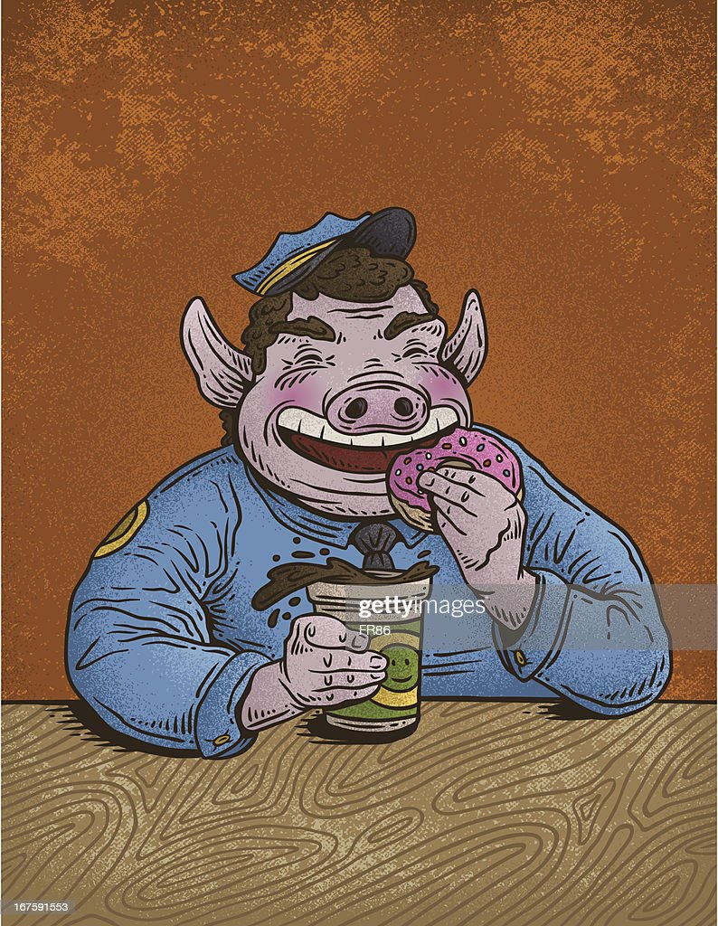 Police Officer With Donuts And Coffee Fat Policeman Cartoon