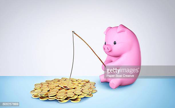 piggy bank fishing for golden dollar coins - opportunity stock illustrations