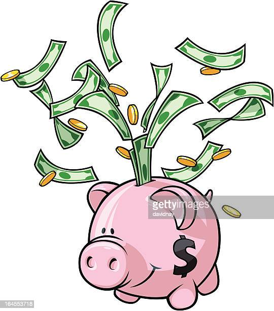 piggy bank - us paper currency stock illustrations, clip art, cartoons, & icons