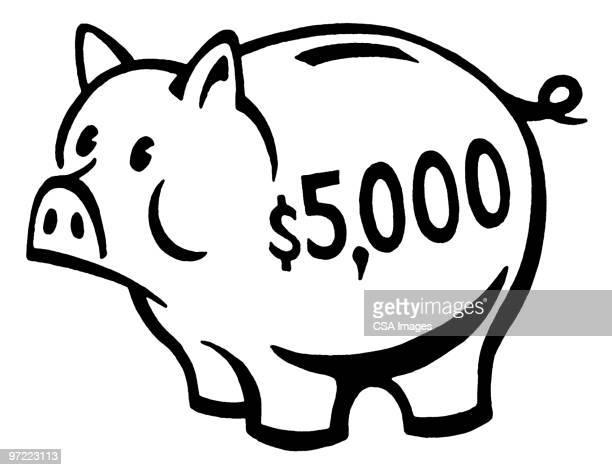 piggy bank - black and white stock illustrations