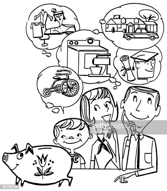 piggy bank - thought bubble stock illustrations