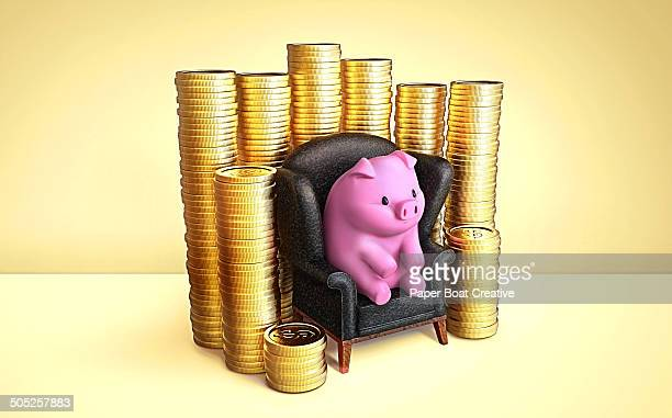 Piggy Bank sitting next to a big stack of coins