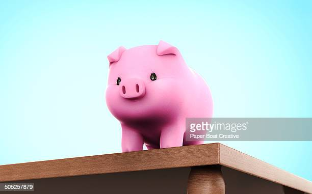 piggy bank standing proudly on top of a table - finanzen stock illustrations