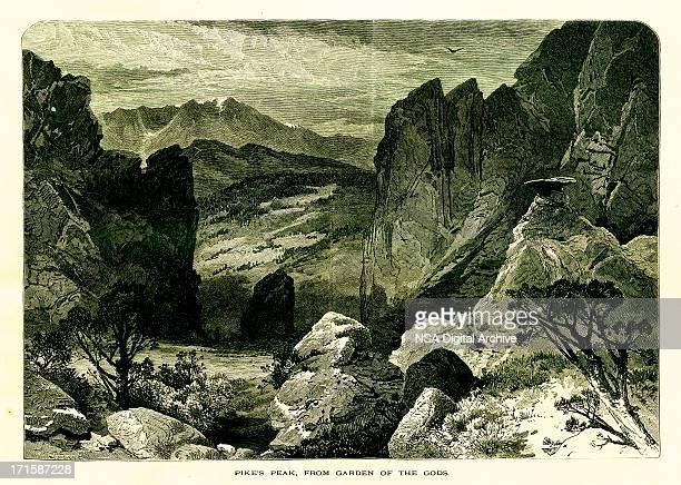 pikes peak, colorado | historic american illustrations - sandstone stock illustrations, clip art, cartoons, & icons