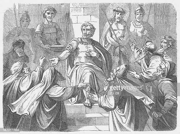 pilate condemned jesus (matthew 27, 22-24), wood engraving, published 1877 - good friday stock illustrations
