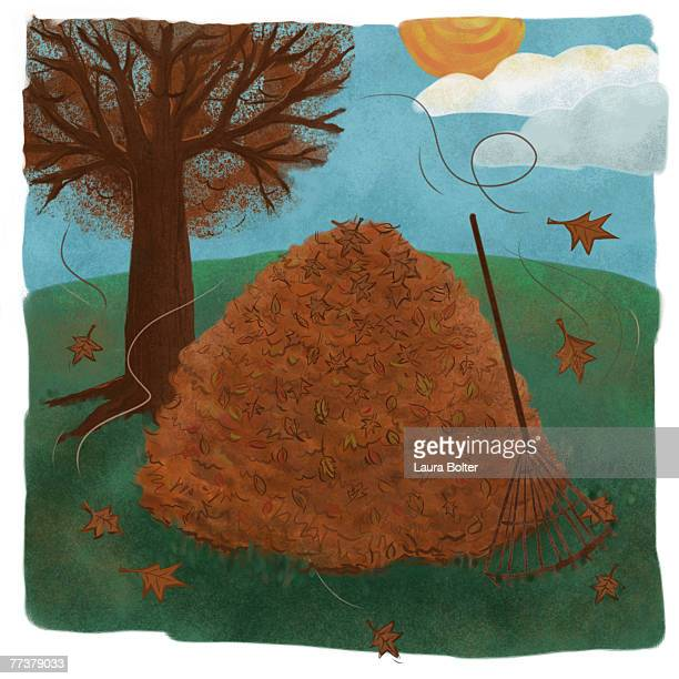 a pile of fallen brown leaves in autumn - raking leaves stock illustrations, clip art, cartoons, & icons