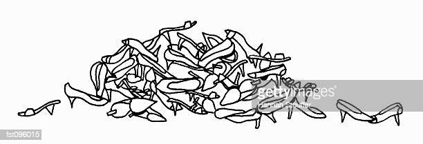 pile of women?s shoes - high heels stock illustrations