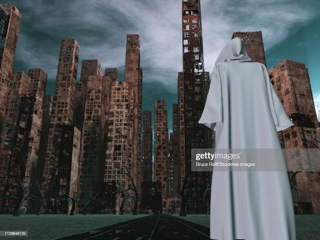 Pilgrim in white cloack before the destroyed city : stock illustration