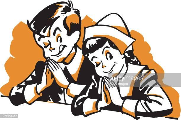 illustrations, cliparts, dessins animés et icônes de pilgrim kids - impatient