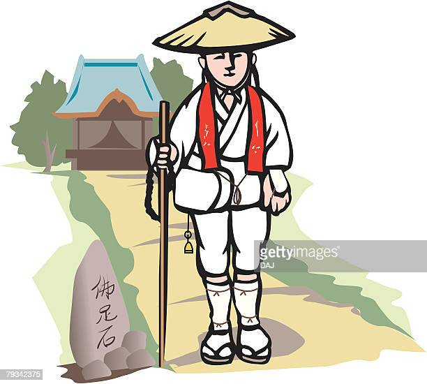 pilgrim, woodcut - shikoku stock illustrations, clip art, cartoons, & icons