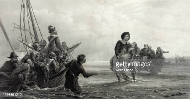 pilgrims leaving holland for america - protestantism stock illustrations