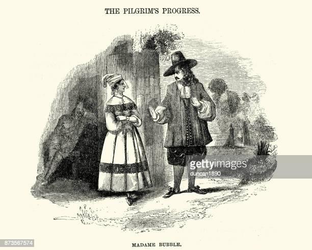 pilgrim's progress - madame bubble - pilgrim stock illustrations, clip art, cartoons, & icons