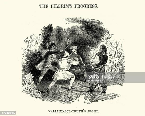 ilustrações de stock, clip art, desenhos animados e ícones de pilgrim's progress - valient for truth's fight - luta de espadas