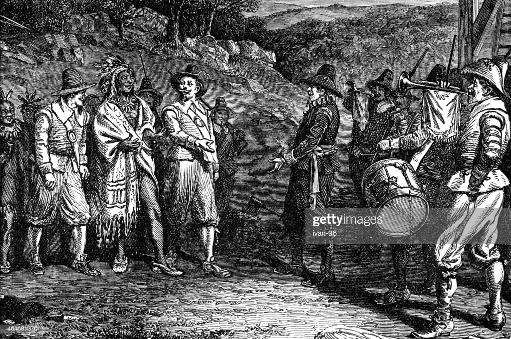 pilgrims receiving Massasoit : stock illustration
