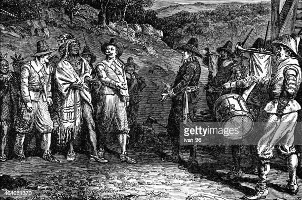 pilgrims receiving massasoit - colonial style stock illustrations