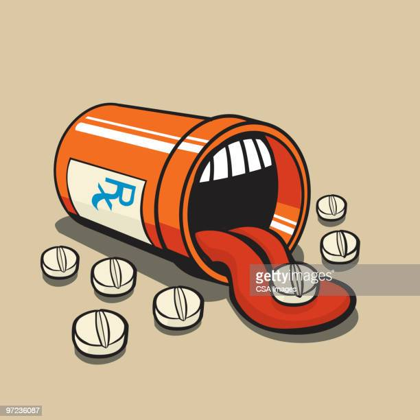ilustrações, clipart, desenhos animados e ícones de pill bottle - relief emotion